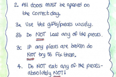 Rules to Archie's Advent Adventure